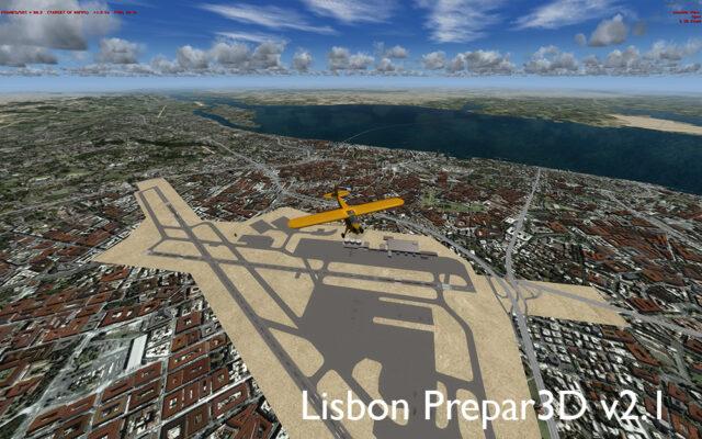 A Portela na versão do Prepar3D v2.1 logo que fiz o primeiro voo de reconhecimento. E Lisboa, como nunca a vi!